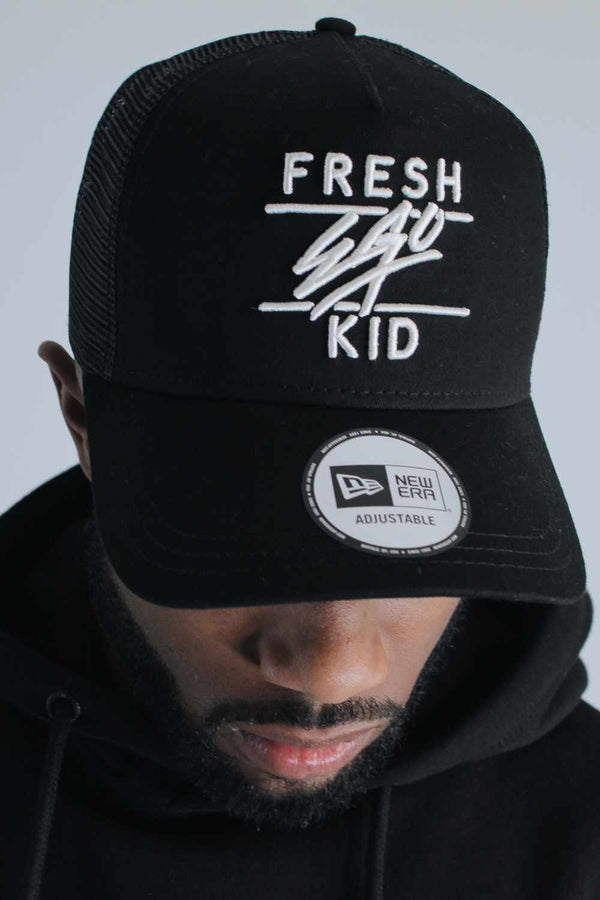 Fresh Ego Kid 9FORTY New Era Trucker Cap - Black/Cream