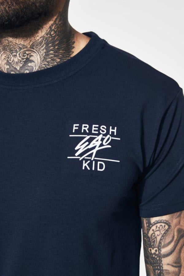 Fresh Ego Kid Curved Hem T-Shirt - Navy