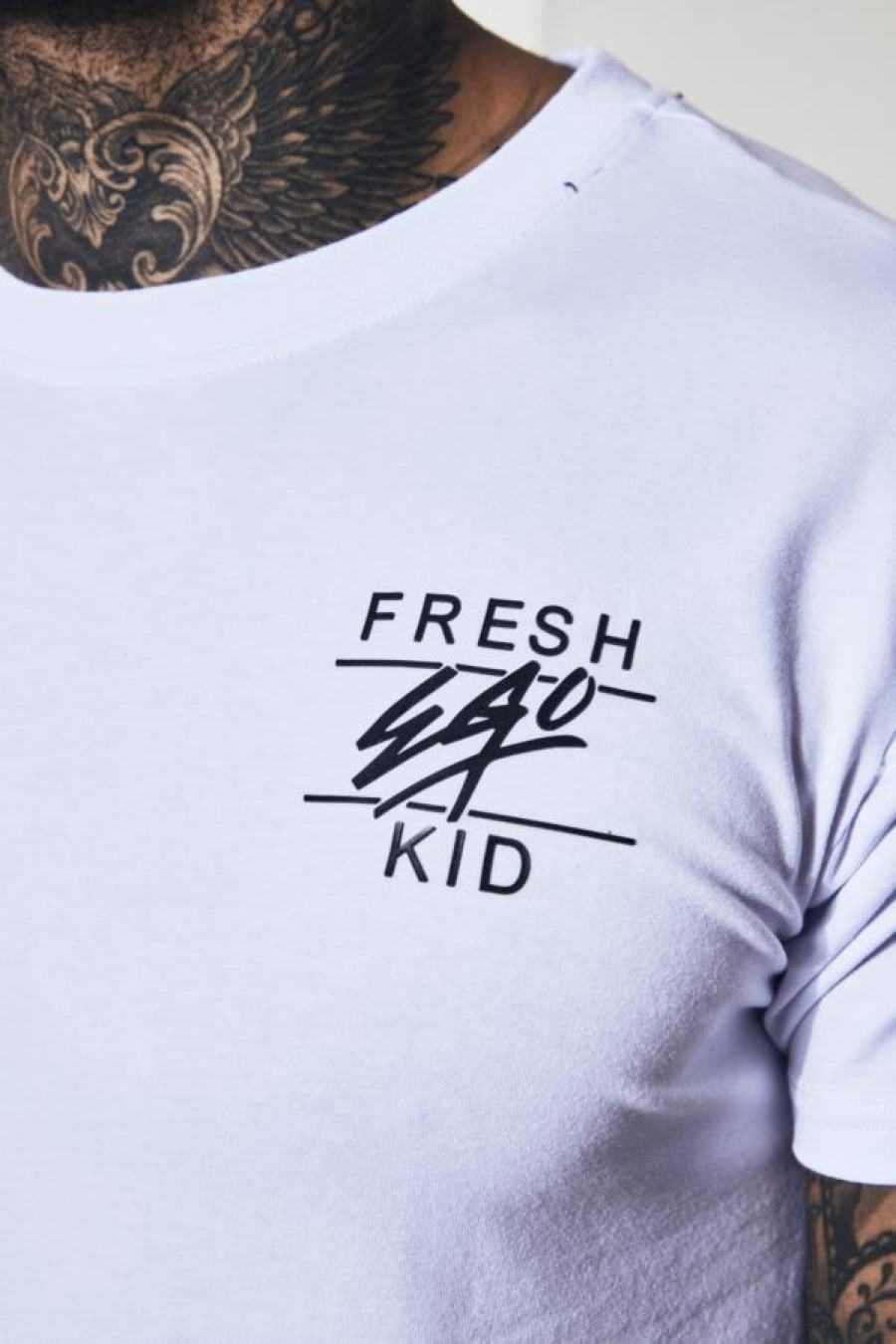 Fresh Ego Kid Curved Hem T-Shirt - White - 1