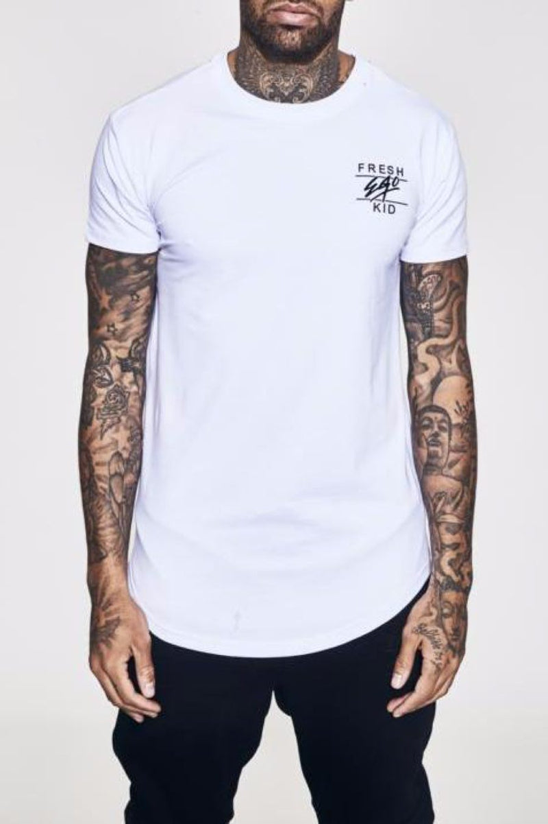 Fresh Ego Kid Curved Hem T-Shirt - White