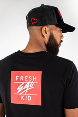 Fresh Ego Kid Flock Mesh Trucker Cap - Black/Red - 2