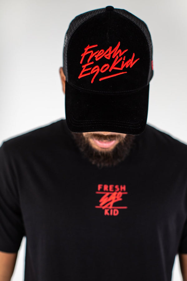 Fresh Ego Kid Flock Mesh Trucker Cap - Black/Red - 1