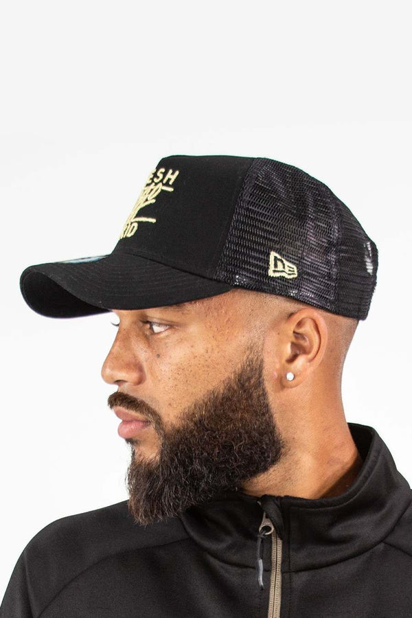 Fresh Ego Kid Mesh Trucker New Era Cap - Black/Gold - 2