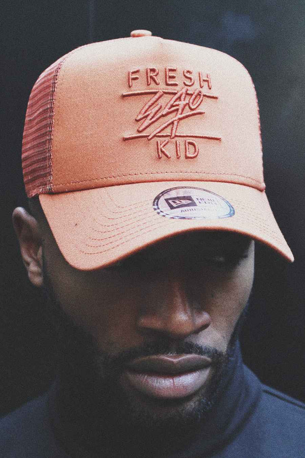 Fresh Ego Kid Mesh Trucker New Era Cap - Rust/Rust