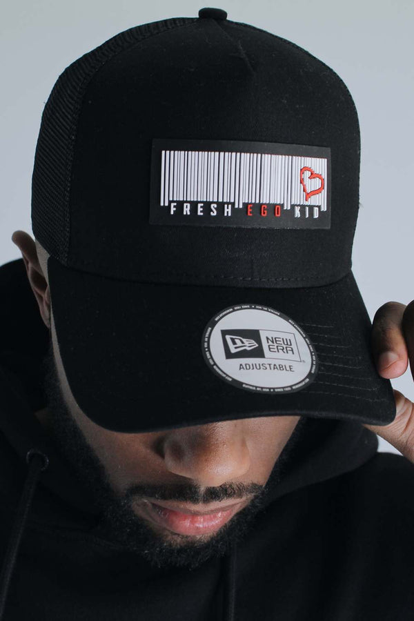 Fresh Ego Kid New Era Barcode Logo Mesh Trucker Cap - Black