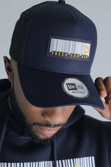 Fresh Ego Kid New Era Barcode Logo Mesh Trucker Cap - Navy