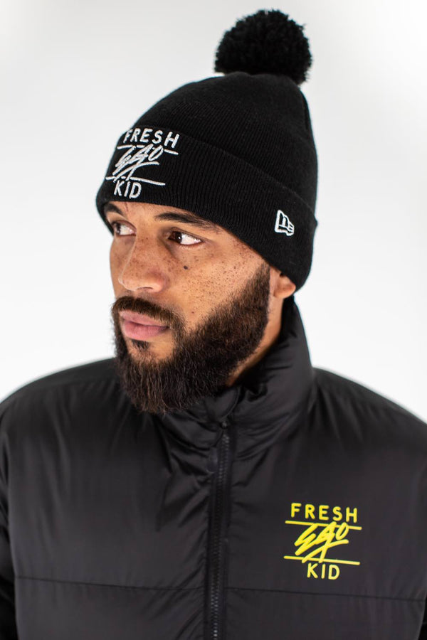 Fresh Ego Kid New Era Bobble Hat - Black/Silver