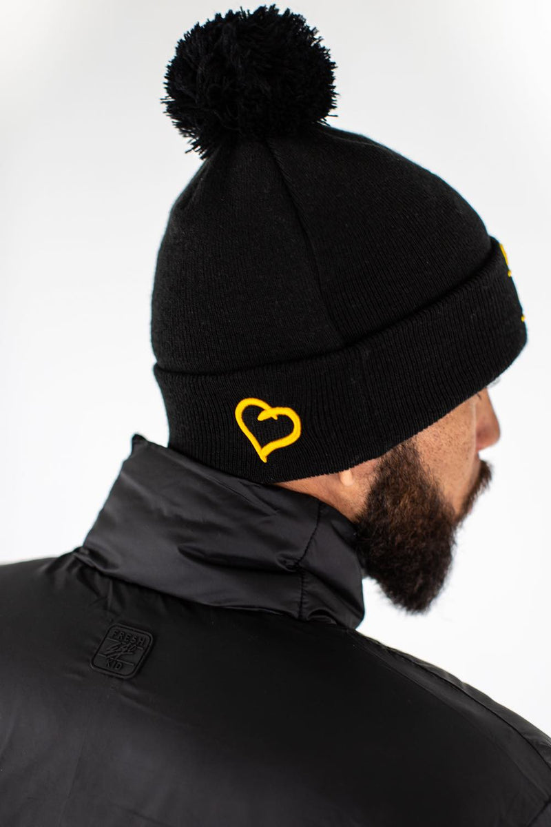 Fresh Ego Kid New Era Bobble Hat - Black/Yellow - 2