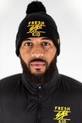 Fresh Ego Kid New Era Bobble Hat - Black/Yellow