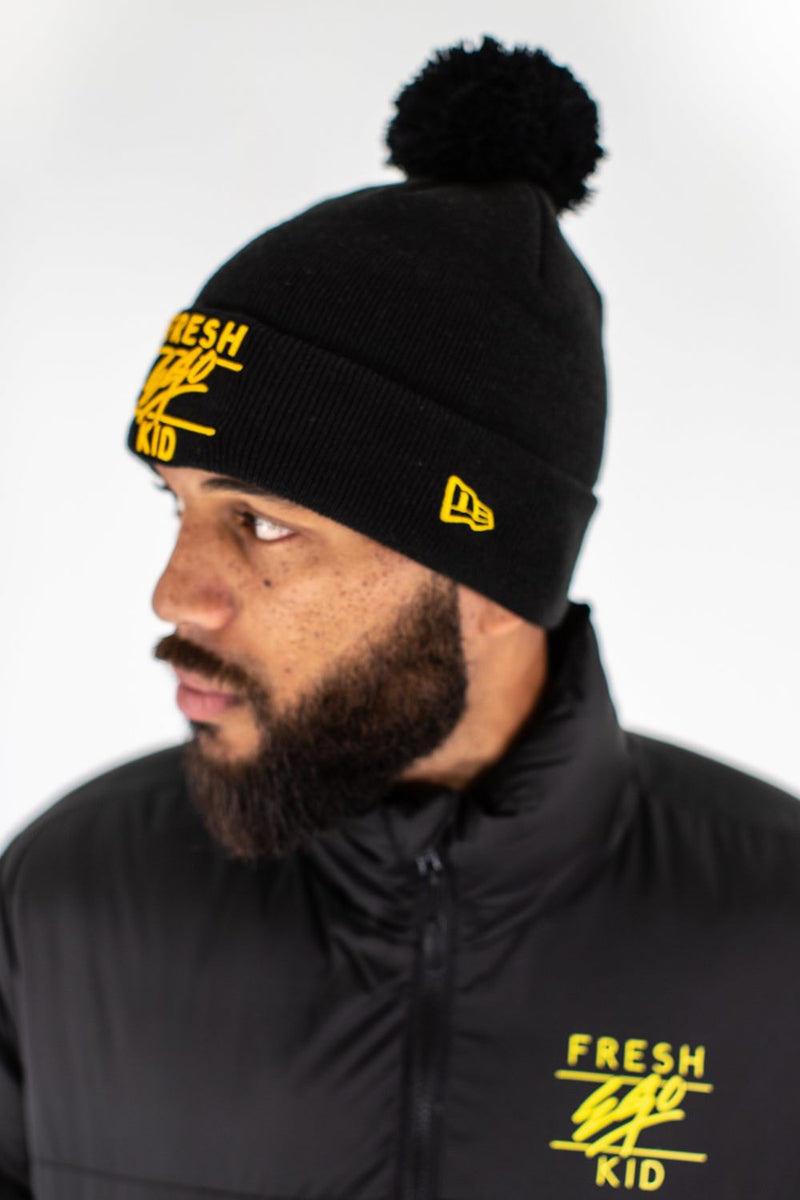 Fresh Ego Kid New Era Bobble Hat - Black/Yellow - 1
