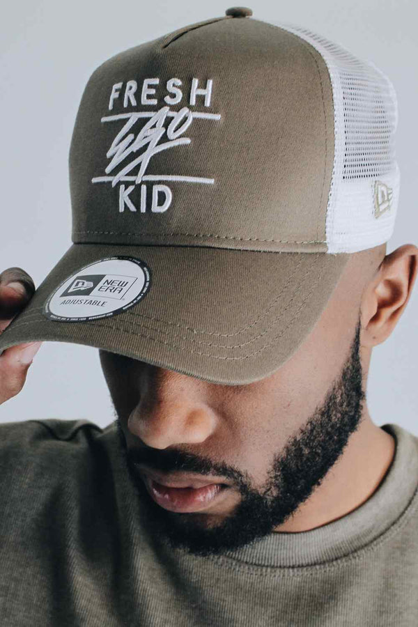 Fresh Ego Kid New Era Mesh Trucker Cap - Khaki/White - 1