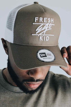 Fresh Ego Kid New Era Mesh Trucker Cap - Khaki/White