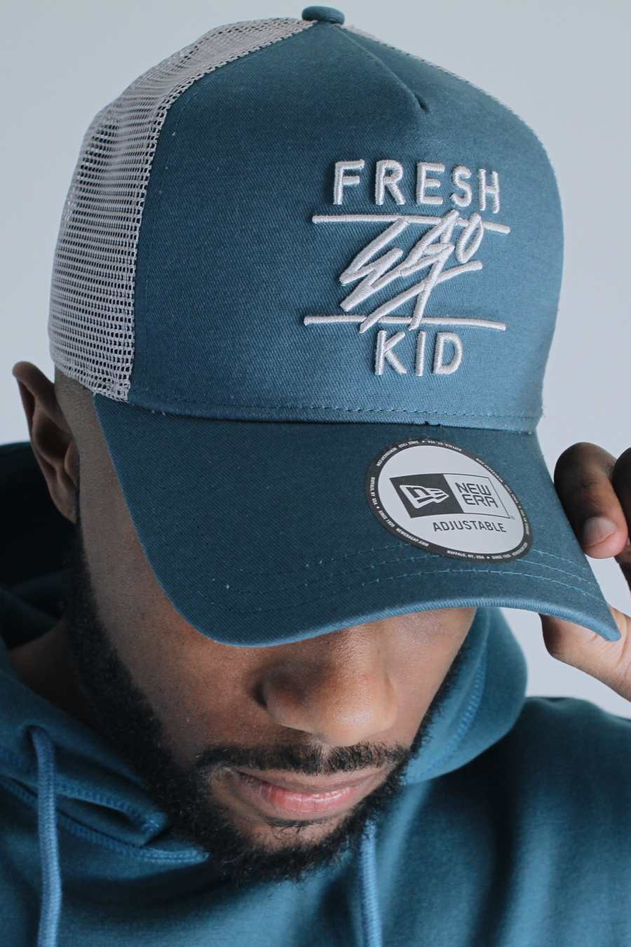 Fresh Ego Kid New Era Mesh Trucker Cap - Teal/Grey