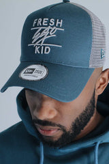 Fresh Ego Kid New Era Mesh Trucker Cap - Teal/Grey - 1