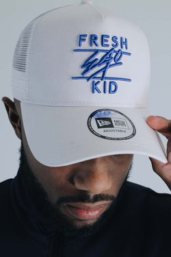 Fresh Ego Kid New Era Mesh Trucker Cap - White/Blue