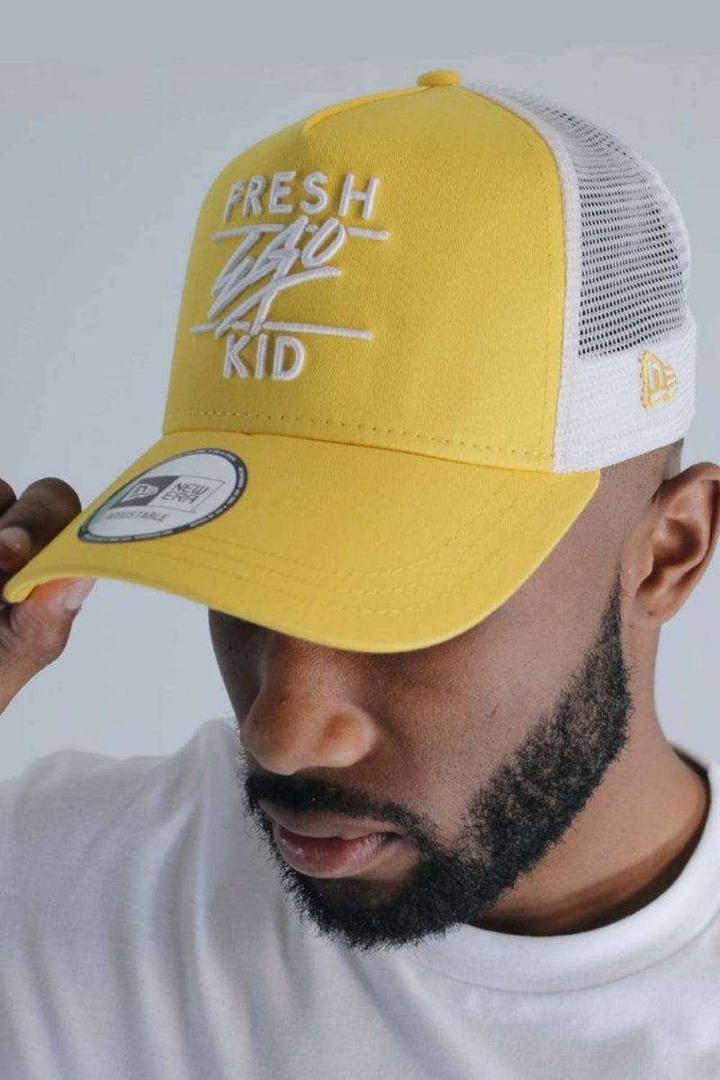 Fresh Ego Kid New Era Mesh Trucker Cap - Yellow/White