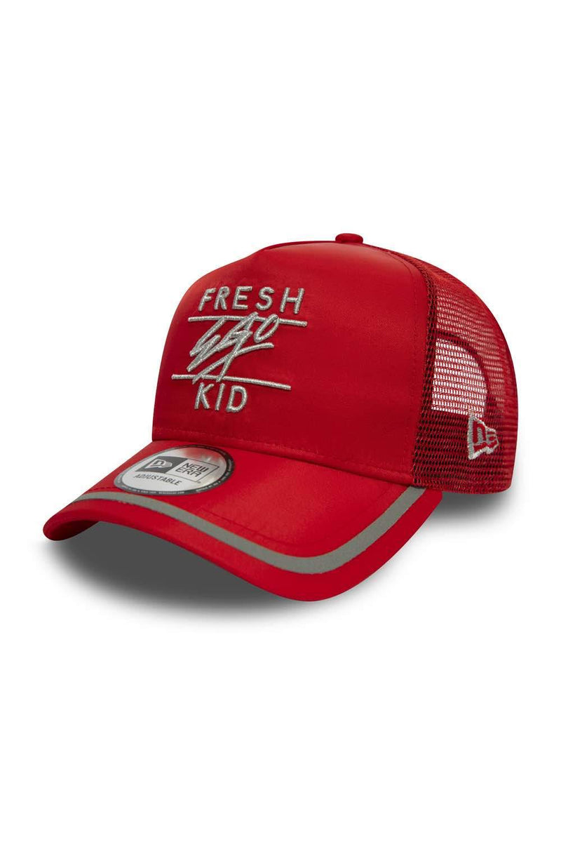 Fresh Ego Kid New Era Reflective Trucker Cap - Red/Silver - 1