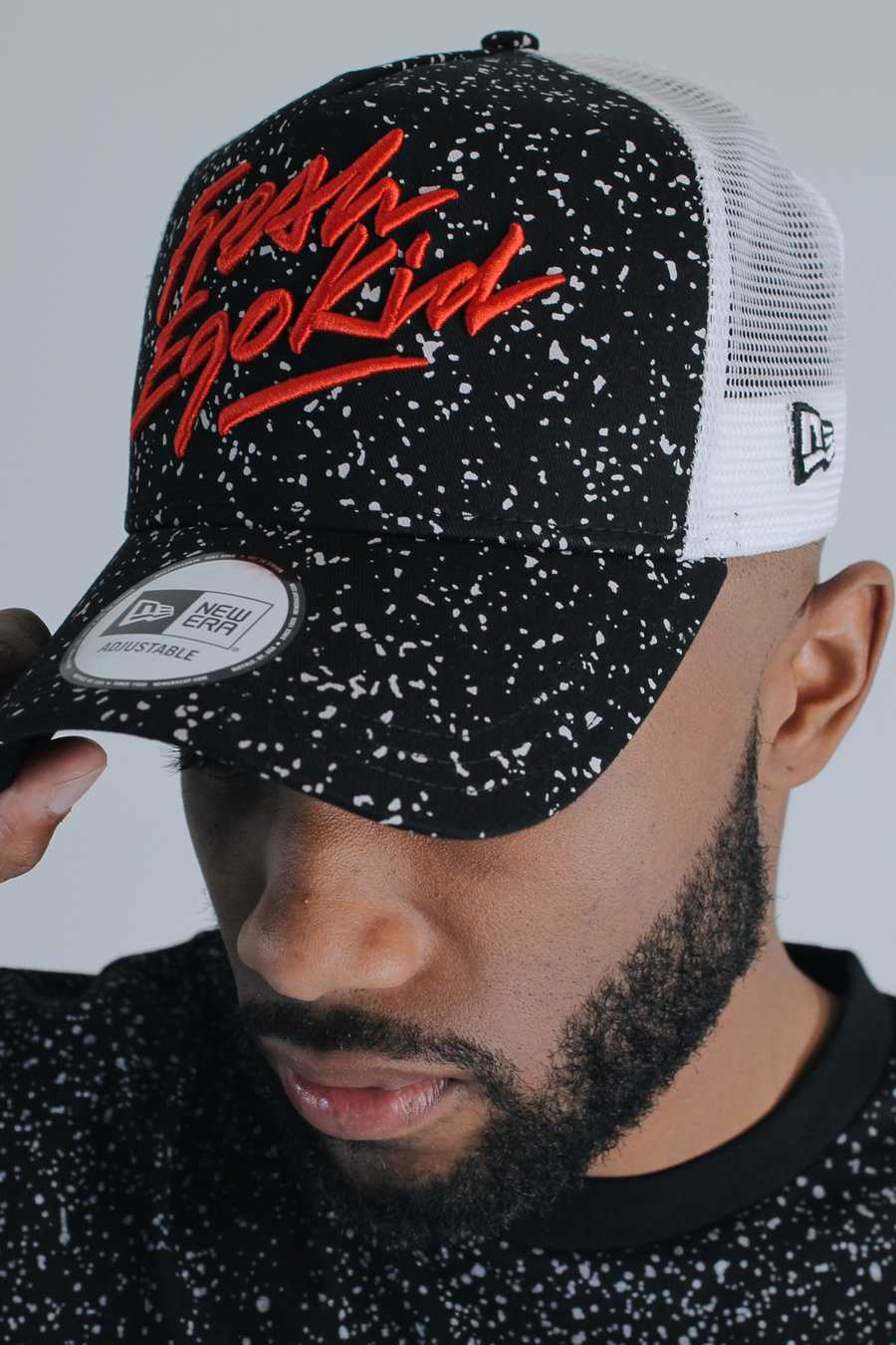 Fresh Ego Kid New Era Speckle Mesh Trucker Cap - Black/White - 1