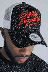 Fresh Ego Kid New Era Speckle Mesh Trucker Cap - Black/White