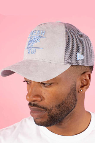 Fresh Ego Kid Suede Trucker Cap - Grey/Blue