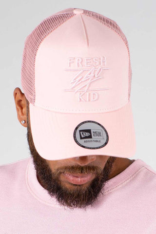Fresh Ego Kid New Era A Frame Mesh Trucker Cap - Pink