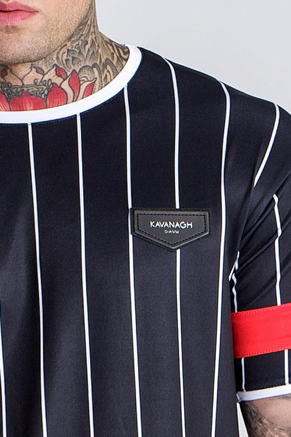 Gianni Kavanagh American Football Stripped Tee - Black/Red - 1