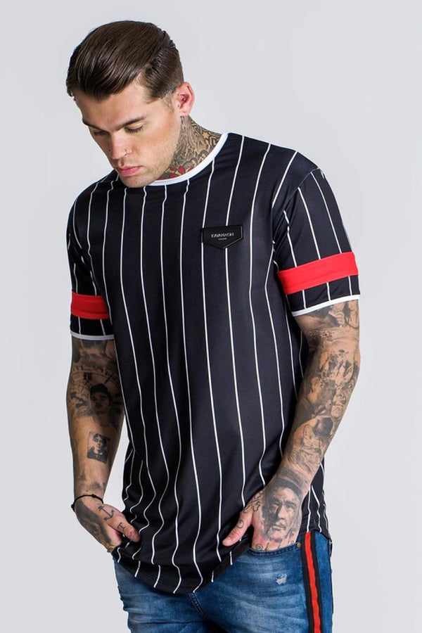 Gianni Kavanagh American Football Stripped Tee - Black/Red