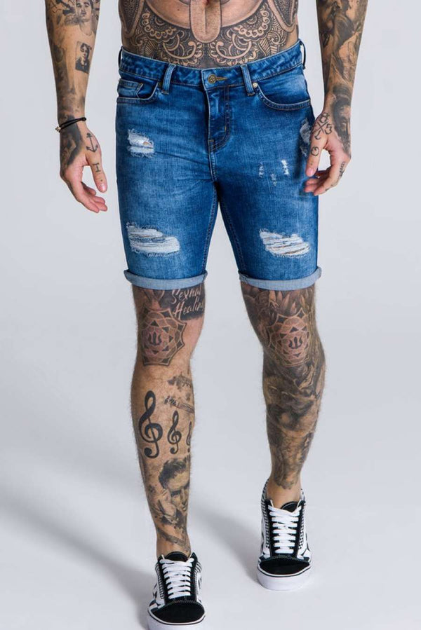 Gianni Kavanagh Ripped & Repaired Denim Shorts - Blue