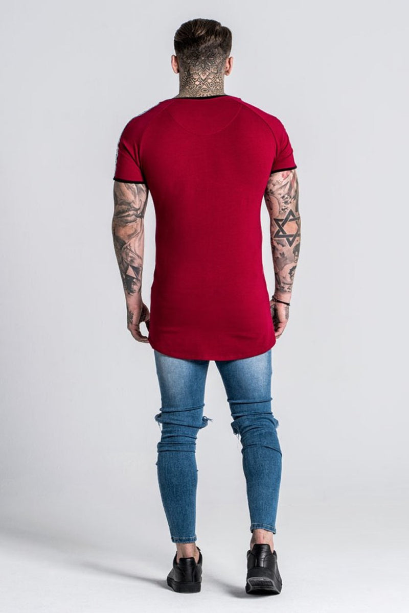 Gianni Kavanagh Taped Tee - Burgundy - 1