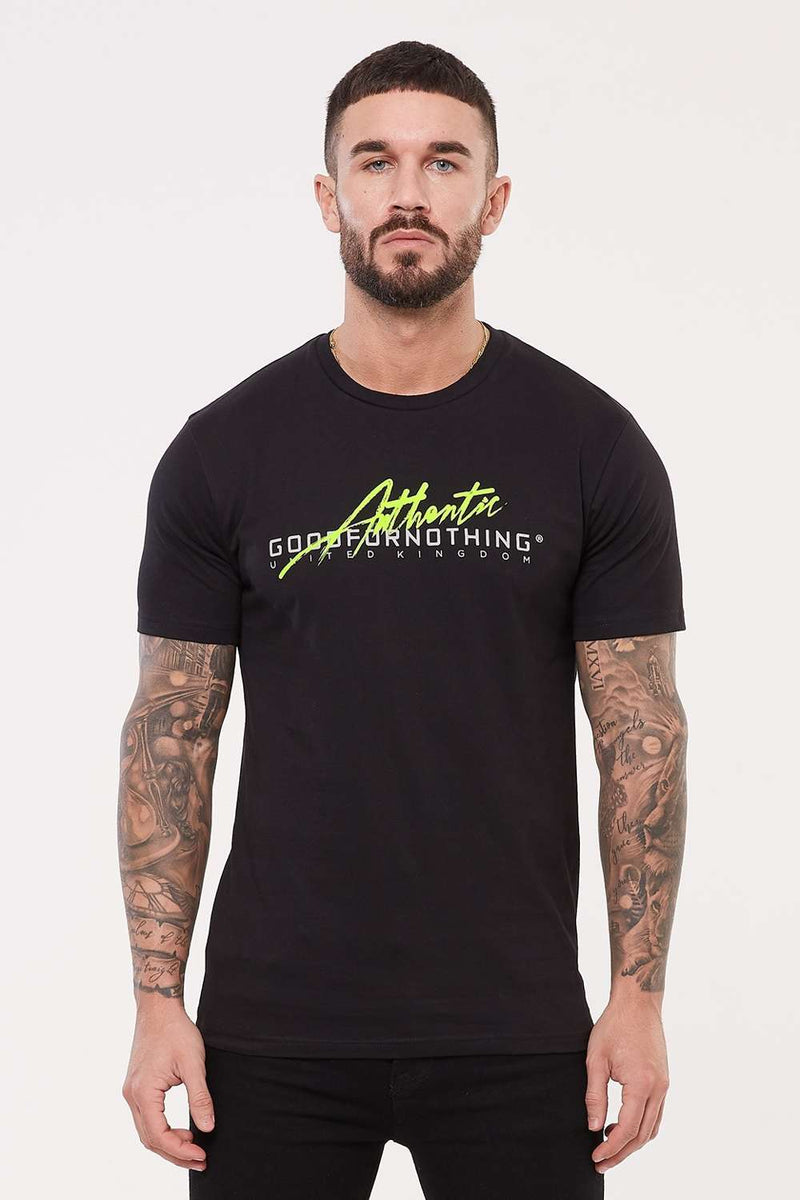 Good For Nothing Authentic Script Flash T-Shirt - Black - 2