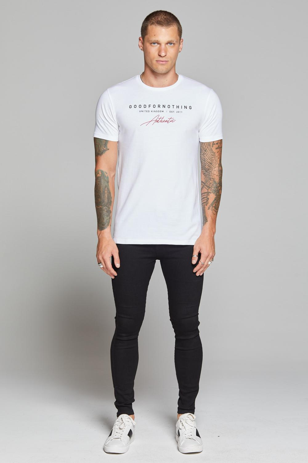 Good For Nothing Authentic Script T-shirt - White