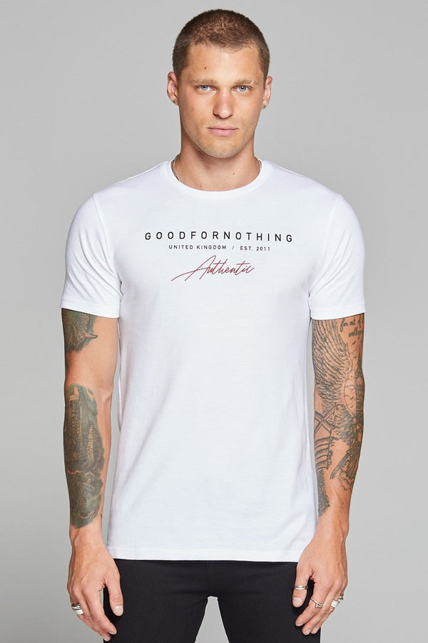 Good For Nothing Authentic Script T-shirt - White - 1