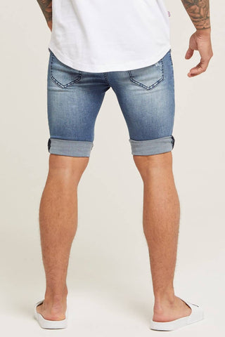 Good For Nothing Destroyed Denim Shorts - Blue - 1