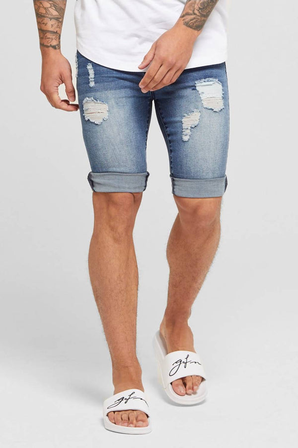 Good For Nothing Destroyed Denim Shorts - Blue