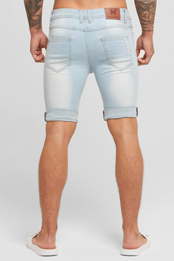 Good For Nothing Destroyed Denim Shorts - Light Blue - 1
