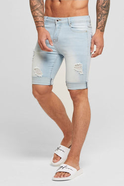 Good For Nothing Destroyed Denim Shorts - Light Blue
