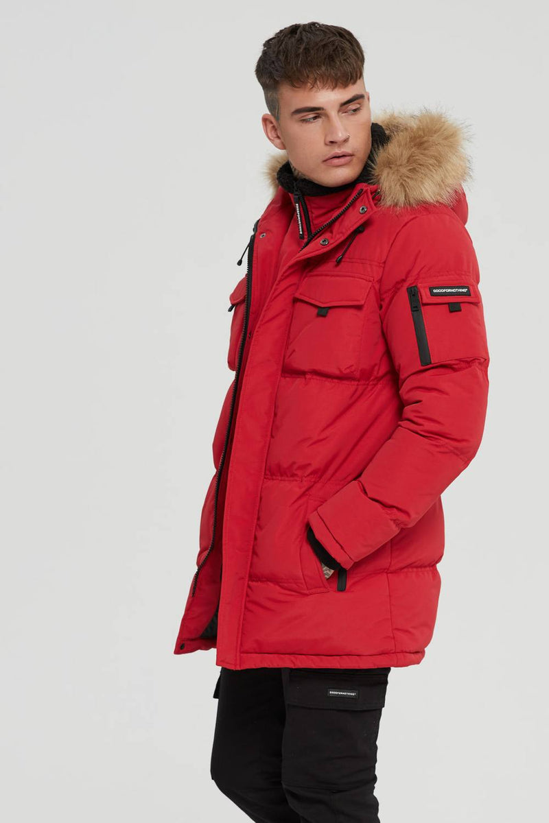 Good For Nothing Storm Double Layered Parka - Red - 2