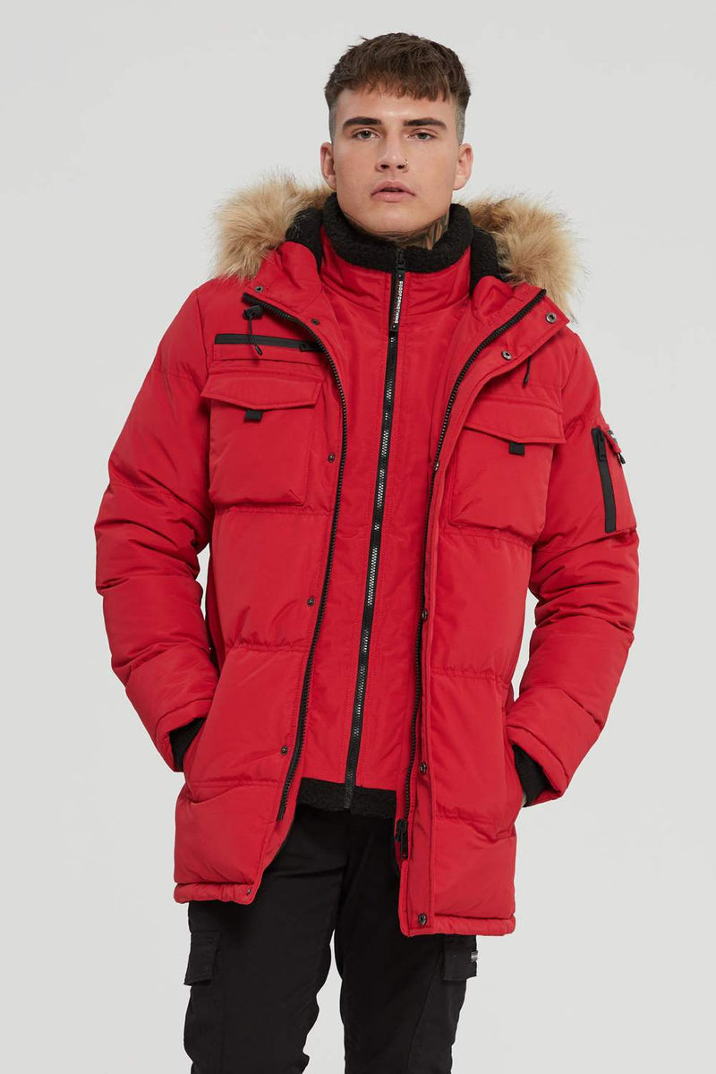 Good For Nothing Storm Double Layered Parka - Red