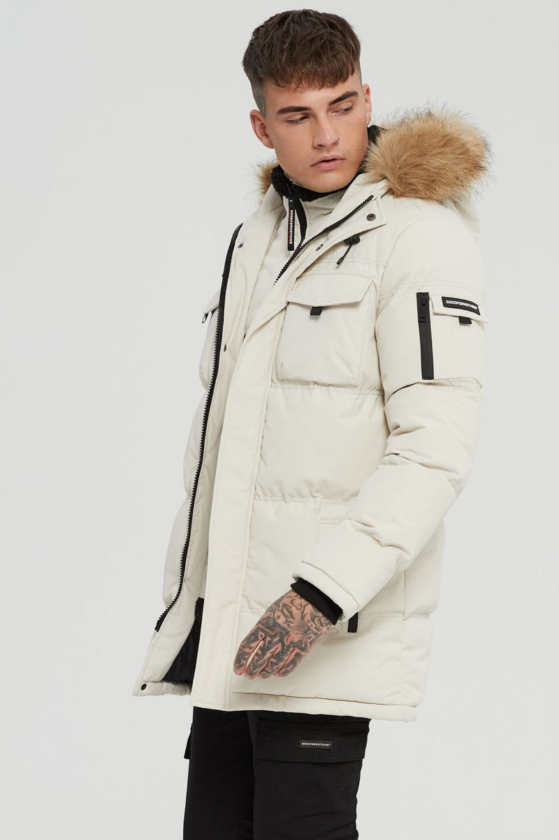 Good For Nothing Double Layered Parka - Stone - 2