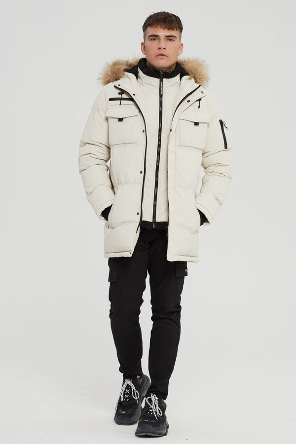 Good For Nothing Double Layered Parka - Stone - 1