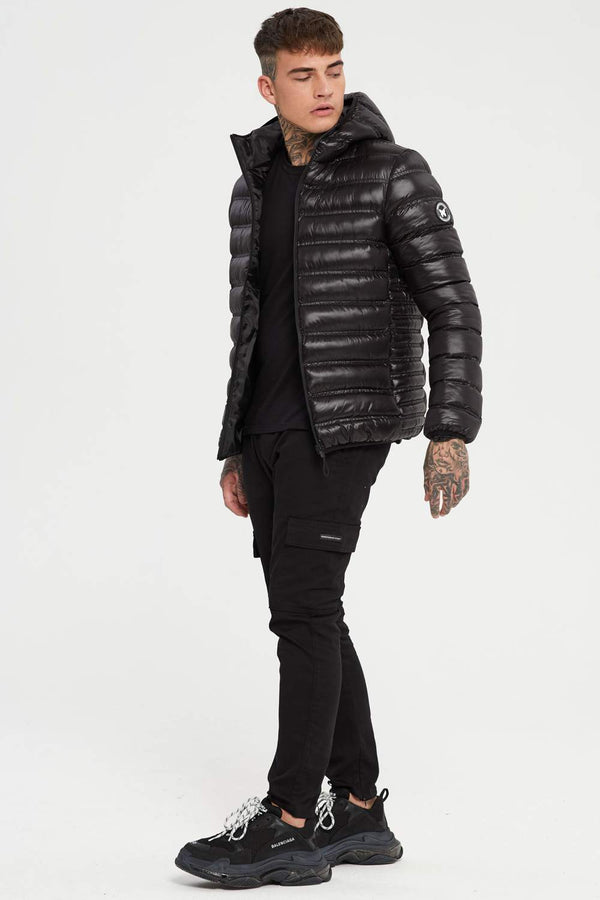Good For Nothing Element Puffer Jacket - Black Shine - 1