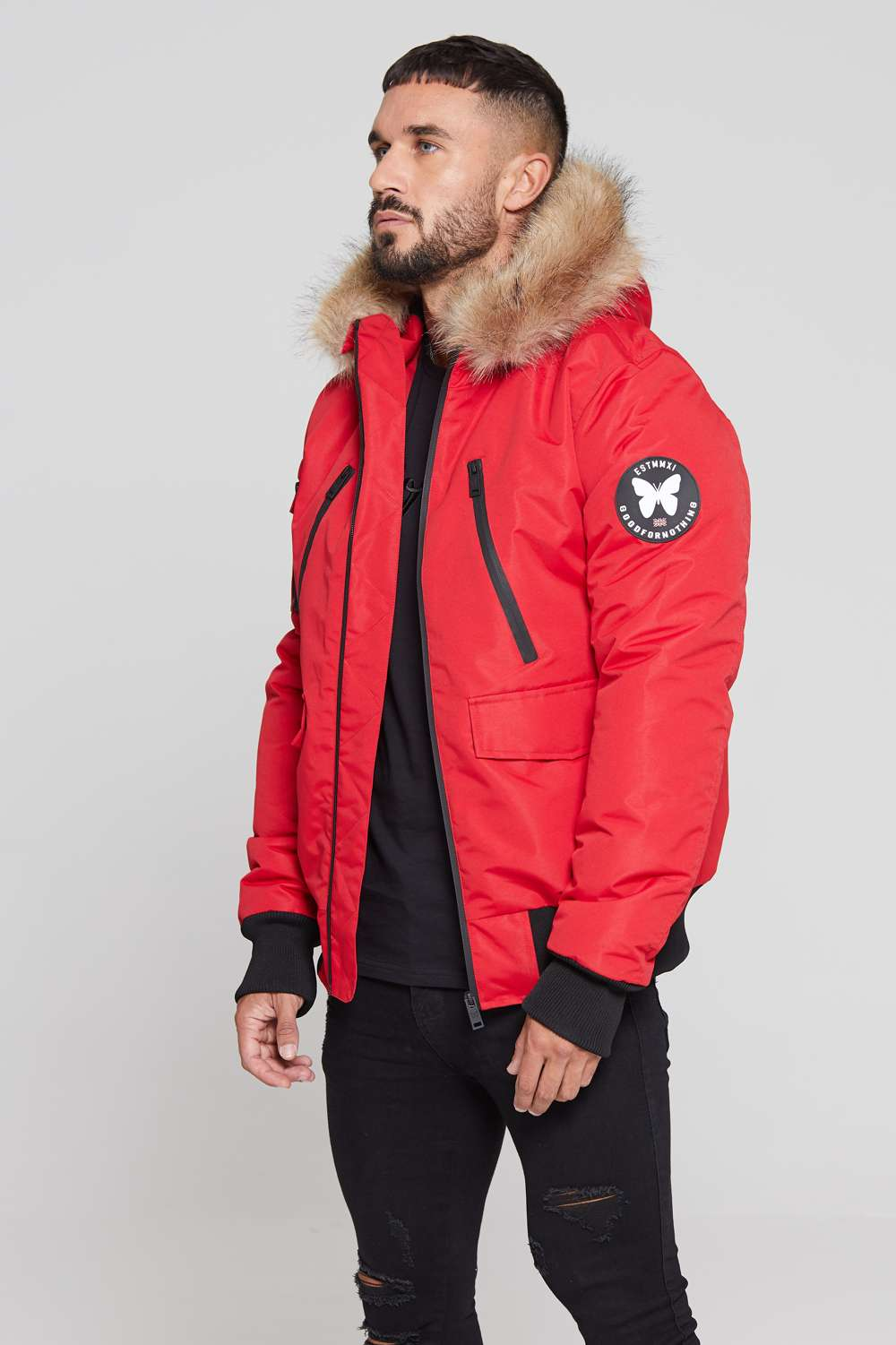 Good For Nothing Glacier Bomber Parka - Red - 2