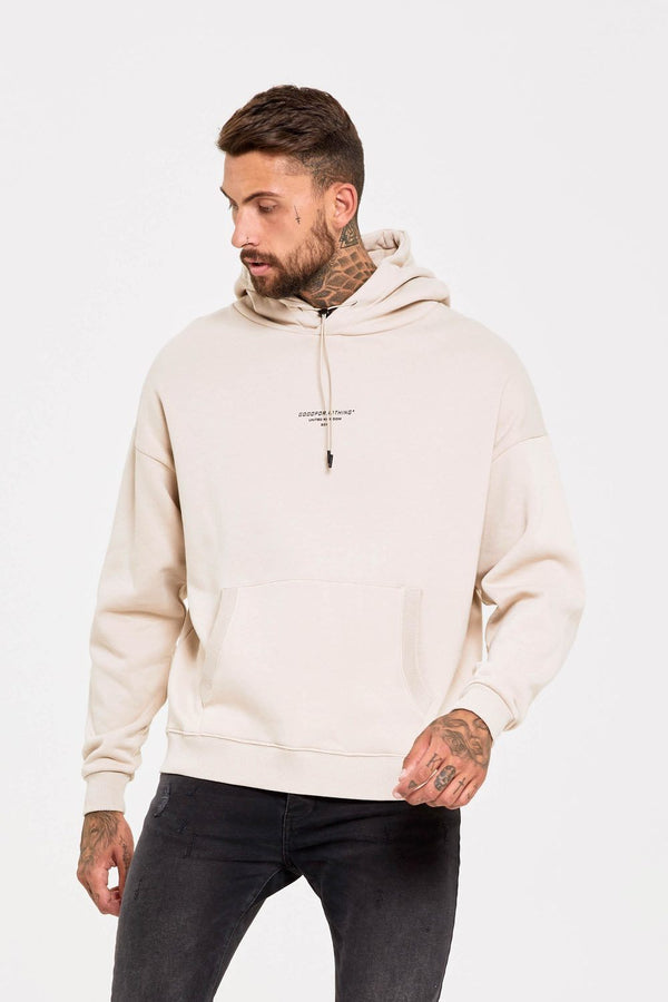 Good For Nothing Oversized Archive Hoodie - Stone - 1