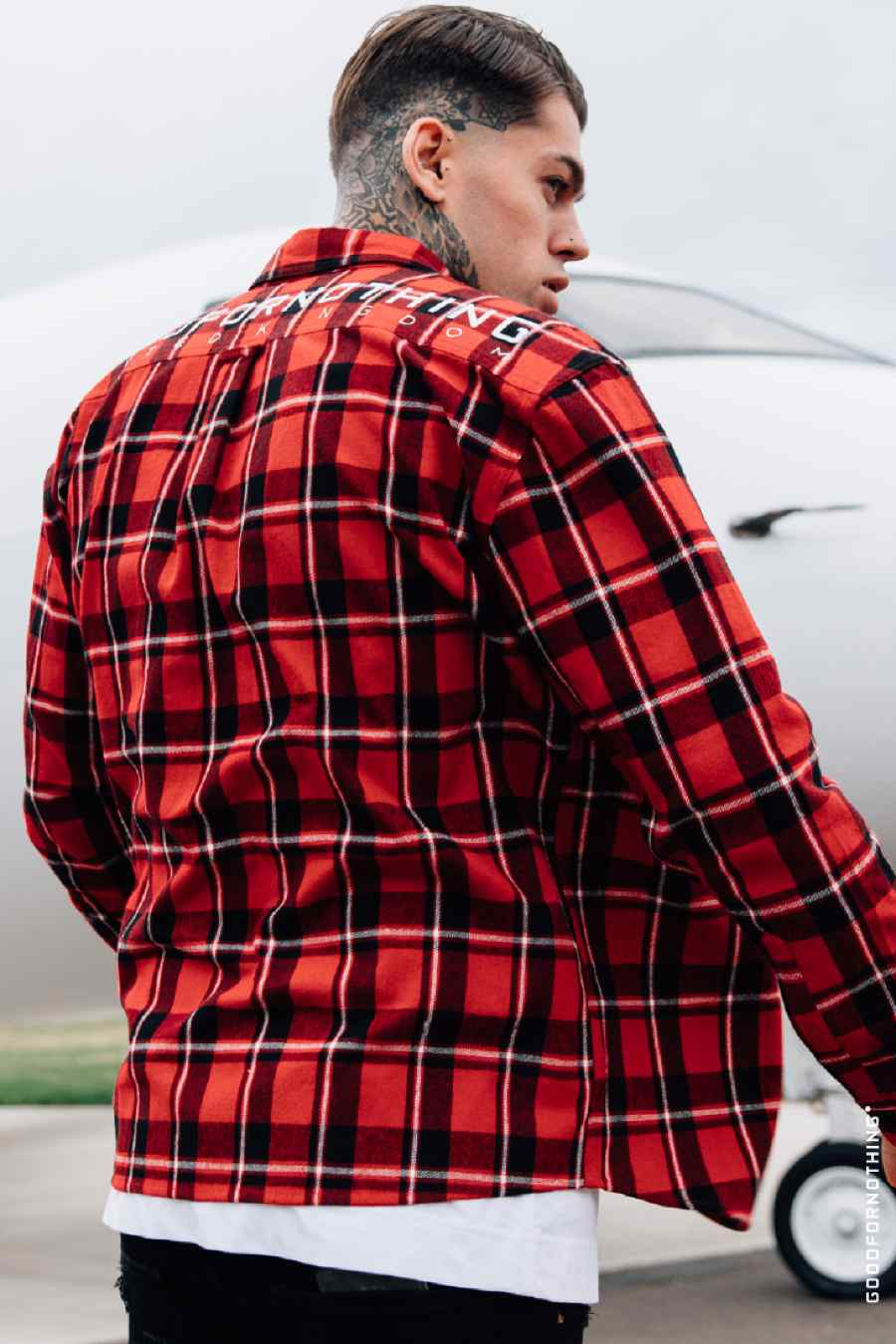 Good For Nothing Oversized Check Shirt - Red - 1
