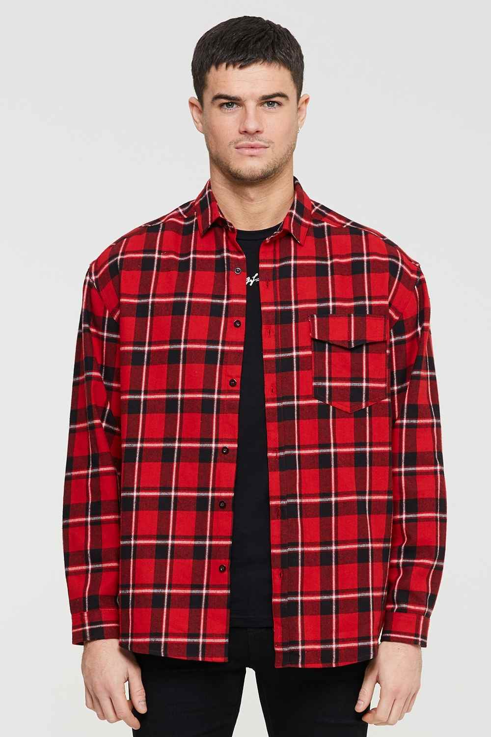 Good For Nothing Oversized Check Shirt - Red - 3