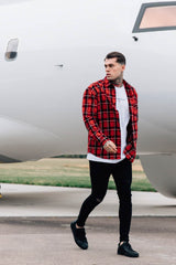 Good For Nothing Oversized Check Shirt - Red - 2