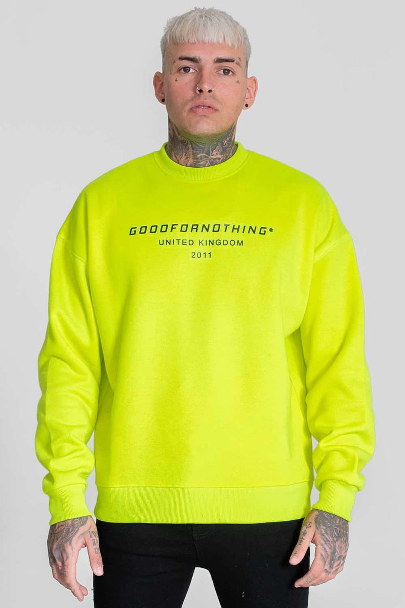 Good For Nothing Oversized Sweater - Neon Yellow