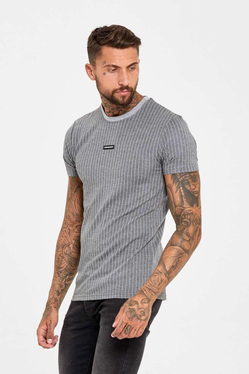 Good For Nothing Pinstripe Rubber Badge Logo T-Shirt - Grey - 2
