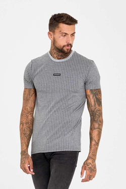 Good For Nothing Pinstripe Rubber Badge Logo T-Shirt - Grey - 1