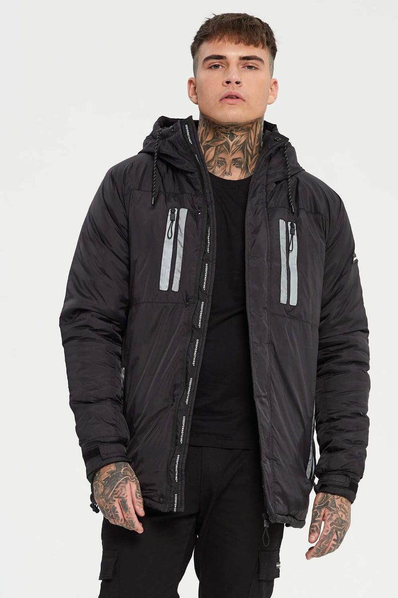 Good For Nothing Reflective Rain Jacket - Black